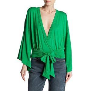 Free People Wrap Tie Top BOHO Green XS